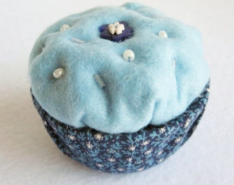 Trinket Box, Felt Decorated Box, Cupcake Box, Blue Trinket Box, Blue Felt Box, Blue Ring Box