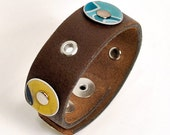 Leather Cuff from Upcycled Leather and License Plates