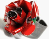 Recycled Jewelry RED COKE Rose Ring From Upcycled Aluminum