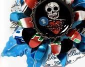 Recycled Aluminum Jewelry Shrine Brooch Skull OOAK