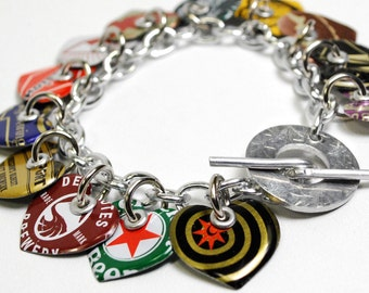 Recycled Jewelry Bottle Cap Heart Charm Bracelet