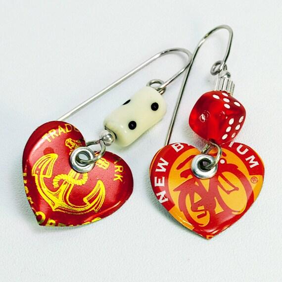 Recycled Bottle Cap Heart Charm earrings