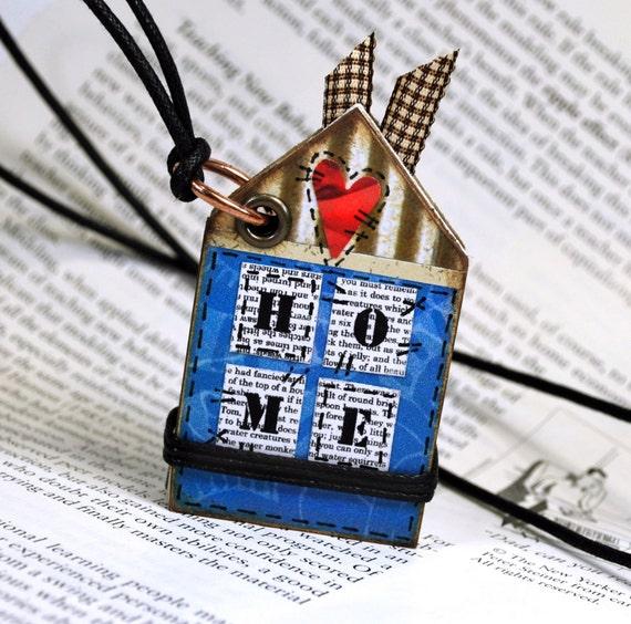 HOME Mini Journal Collage Necklace OOAK