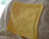 Yellow Humming Bird Knit Wash Cloth