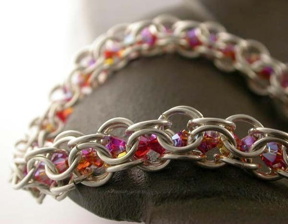 TUTORIAL - Crystal Chain Maille Bracelet - Instant Download