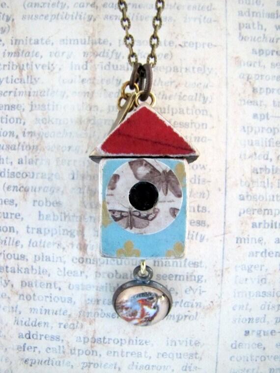 Birdhouse Necklace, Bird House Necklace, Bird Abode No. 6