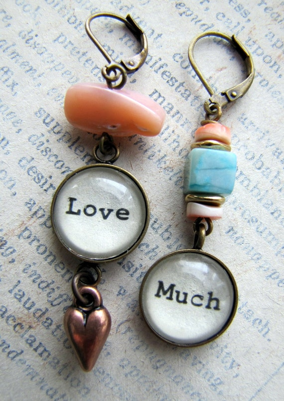 Love Much, Mismatched Mantra Earrings