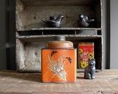 Vintage Tea Tin Hand painted Tole ware
