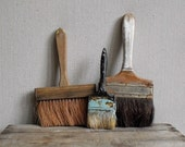Vintage Brush Collection : 3 Rustic Brushes, Wood, Horsehair,  and Paint Splotches,