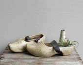 Large Antique Wood Clogs : Original Handcarved Wooden Shoes with Leather Straps