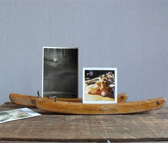 Vintage Wood Ice Skate Guards : Repurposed photo and note holder