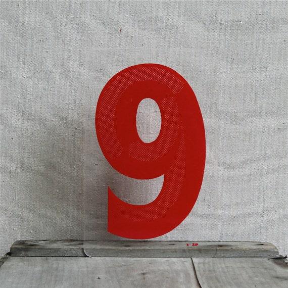 Vintage Sign Number 9 , Mid Century Design