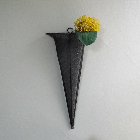 Vintage Wall Pocket Cone : Metal Wall Hanging Planter