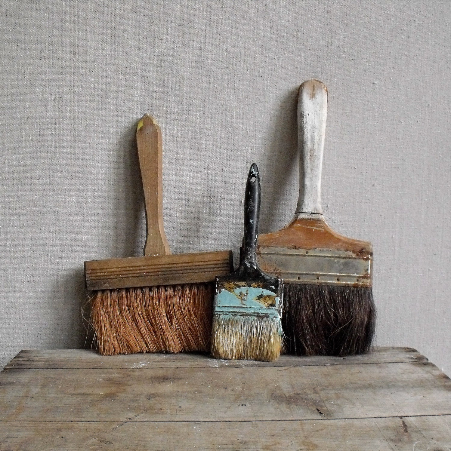 Vintage brush collection 3 rustic brushes wood by solsticehome - Wood exterior paint collection ...