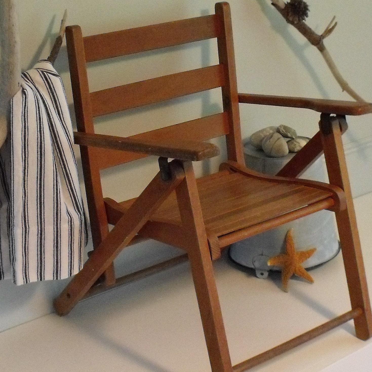 Vintage Childs Wood Folding Chair 1950 s Beach Decor