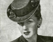 Vintage Ladies Hat and Posy Made In Leather, Sewing Pattern, 1940/1950 (PDF) Pattern, Weldons 438