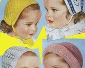 Vintage Childrens Bonnets, Pixie, Fair Isle, Open Work, Frill Trimmed Styles, Knitting Pattern, 1950/1960 (PDF) Pattern, Bestway 3132