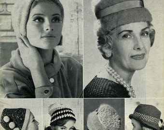 Vintage Ladies Hats in Six Styles, Knitting Pattern, 1960 (PDF) Pattern, P&B 9100