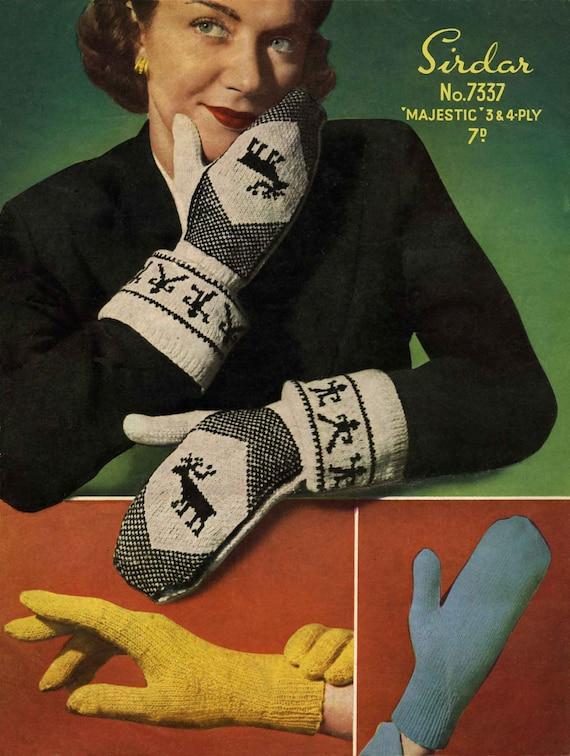 Vintage Ladies Mitts and Gloves, Knitting Pattern, 1960 (PDF) Pattern, Sirdar 7337