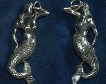Limited Edition Designer Sterling Silver Mermaid Goddess of the Sea Pendant