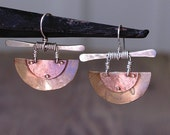 Mixed Metals Earrings with Forged Sterling Wire