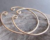 Non-pierced gold filled slip on hoop earrings - 1 1/2 inch