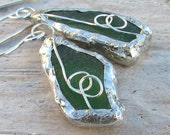 Genuine Sea Glass Earrings Sterling Silver Wire Sea Glass Jewelry