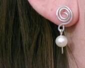 Pearl earrings, sterling silver wire swirl, pearl dangle, spiral stud earrings, elegant handmade wedding