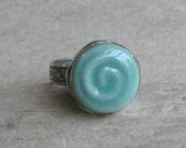 Green spiral swirl ring