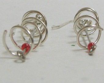 Red dot earrings sterling silver wire jewelry