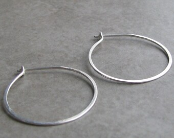 Sterling Silver Hoop Earrings 1 inch