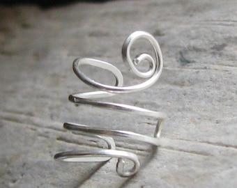 Sterling silver ear cuff adjustable wear on either ear unpierced earcuff cartilage earring