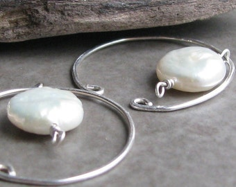 Freshwater pearl earrings non-pierced slip on hoop earrings unpierced pierceless