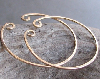 Non-pierced hoop earrings gold filled slip on unpierced alternative