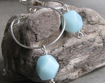 Amazonite non-pierced sterling silver wire slip on hoop earrings unpierced