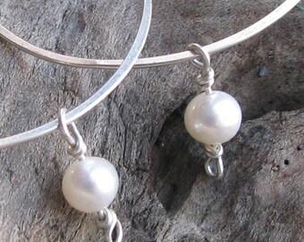Freshwater pearl sterling silver non-pierced slip on hoop earrings unpierced alternative