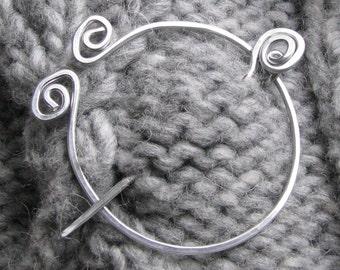 Silver colored fibula shawl pin sweater scarf brooch aluminum wire