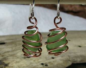 Green Eco Friendly Sea Glass Earrings Mixed Metal Copper and Sterling Silver