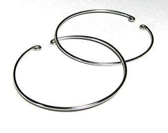 Nonpierced hoop earrings sterling silver wire unpierced slip on 2 inches
