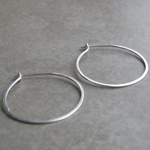 Sterling Silver Hoop Earrings 1 inch