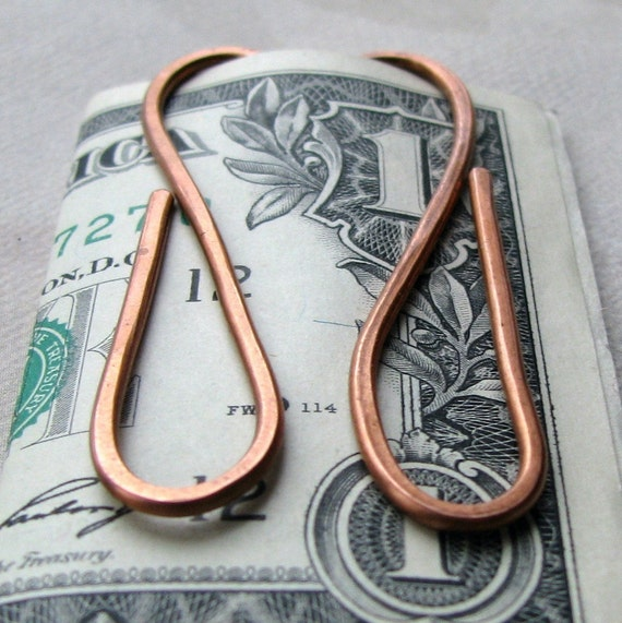 Copper Wire Money Clip or Book Mark Available in Sterling Silver