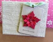 Embossed Poinsettia Christmas Card