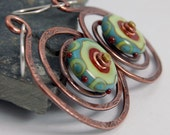 Lime, Turquoise and Red Lampwork Bead and Copper Spiral Earrings