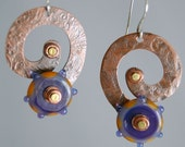 Grape and Caramel Lampwork Disk Bead and Copper Earrings