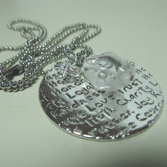 Spirit Necklace - Dragonfly, Quartz Crystal, Word Disk LAST ONE
