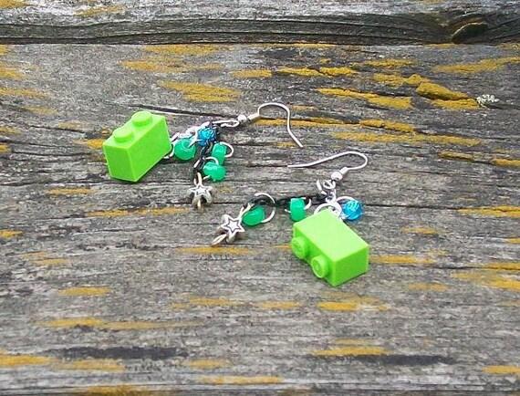 Green Mega Bloks Earrings