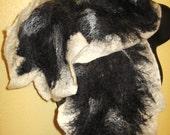 Black and White Nuno felt wool scarf