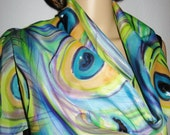 PEACOCK Hand Painted Silk Scarf  women fashion SALE