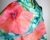 Hand Painted SILK SCARF Tropicle Flowers