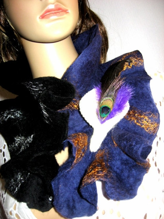 Felted Scarf Neck warmer with Felted Peacock pin Purple Black
